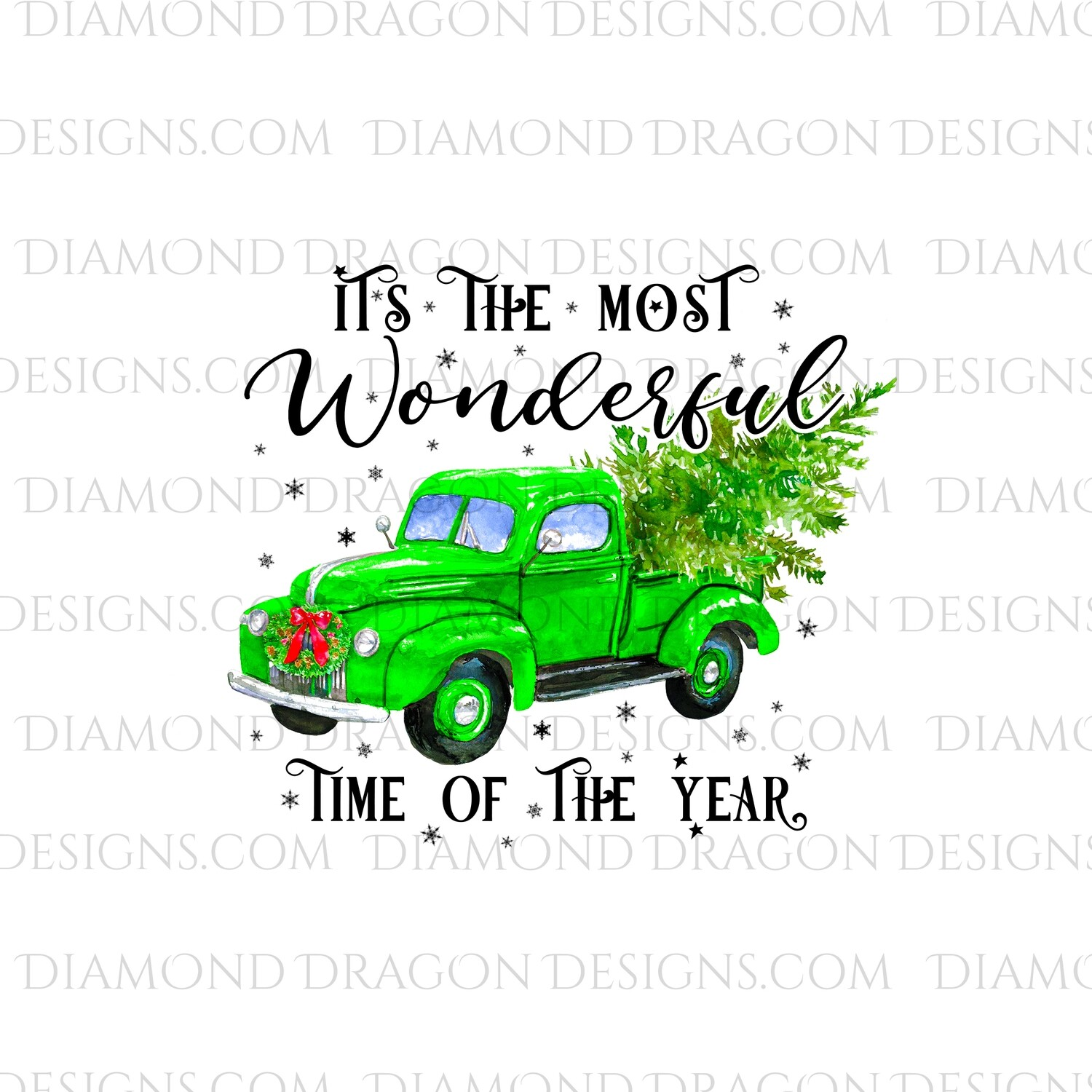 Christmas - Green Truck, Christmas Tree, It's the most wonderful time, Green Vintage Truck, Digital Image
