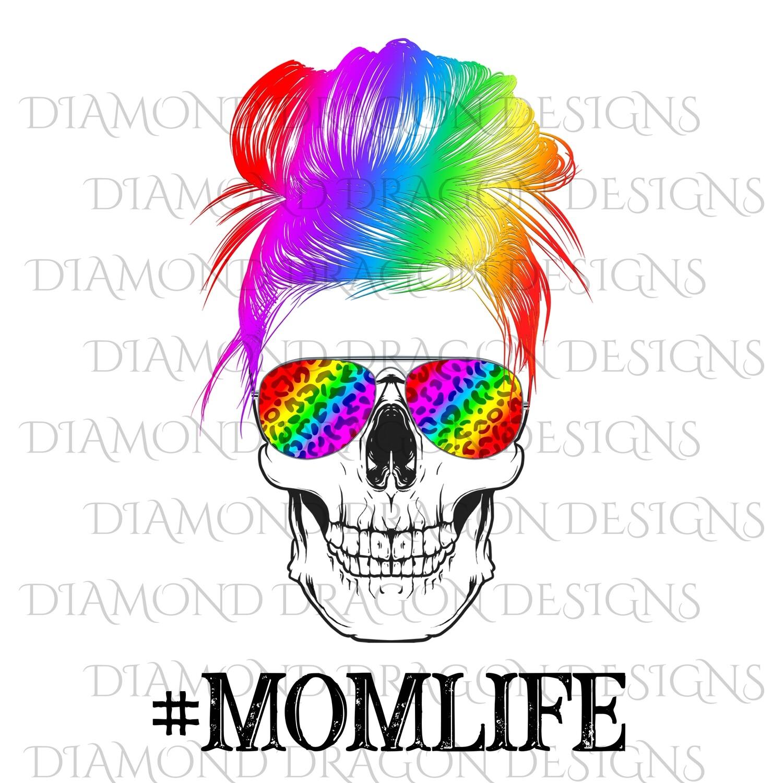 Skulls - Mom Life, #momlife, Skull, Messy Bun, Sunglasses, Rainbow Leopard Print, Mom Skull, Digital Image