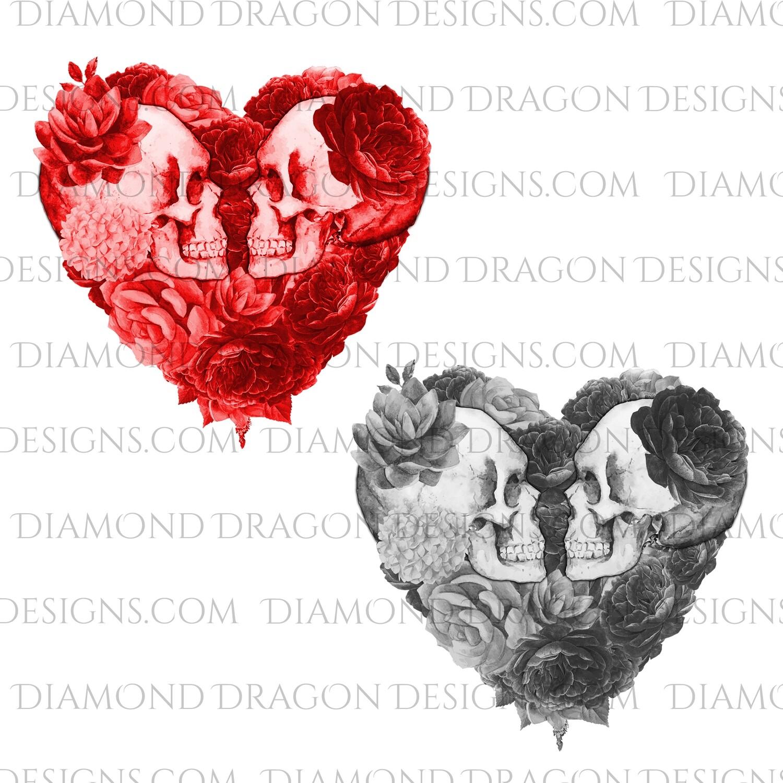 Halloween - Floral Heart Skulls, Red & Black Set, Digital Image