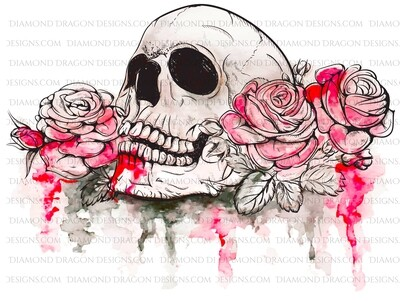 Halloween - Red Watercolor Floral Skull Roses, Digital Image