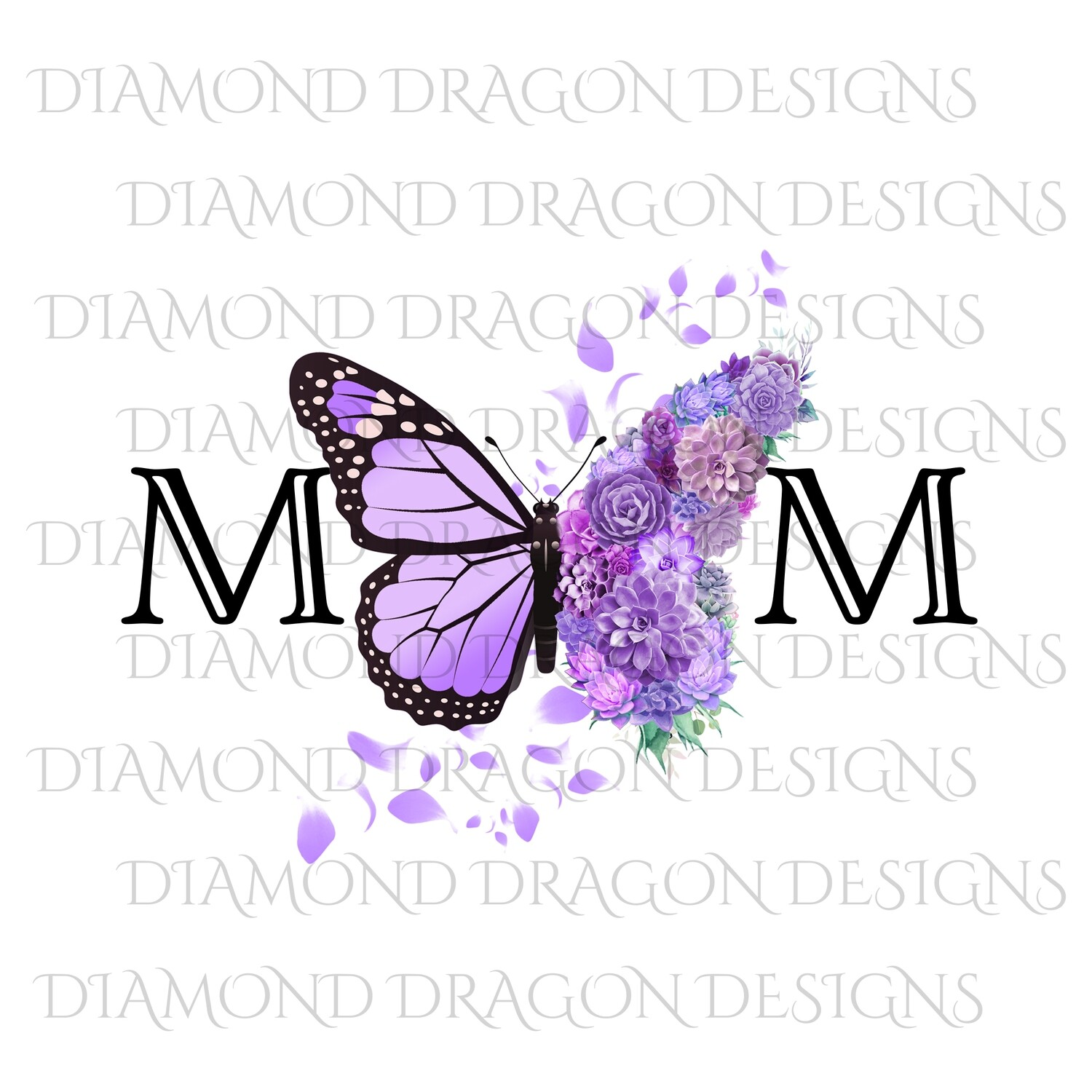 Mom's - Butterfly Succulent Floral, Mother's Day Design, Watercolor Mom Design, Purple Flower Butterfly, Waterslide