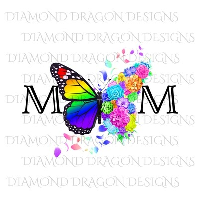 Mom's - Butterfly Succulent Floral, Mother's Day Design, Watercolor Mom Design, Rainbow Flower Butterfly, Waterslide