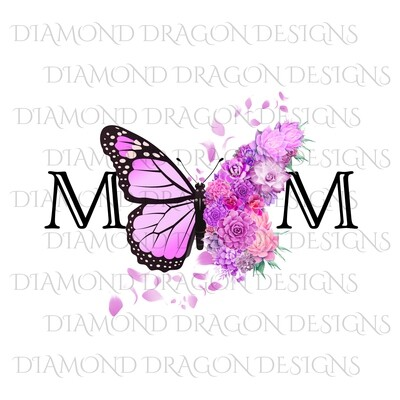 Mom's - Butterfly Succulent Floral, Mother's Day Design, Watercolor Mom Design, Pink Flower Butterfly, Waterslide