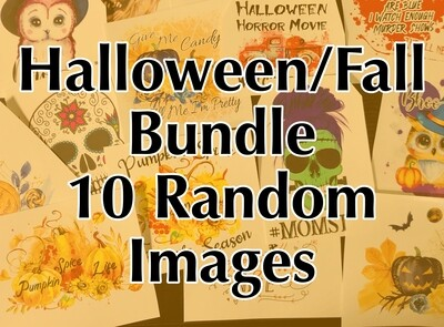 Bundle - 10 Fall/Halloween Random, Laser Printed Images, Discount Bundle
