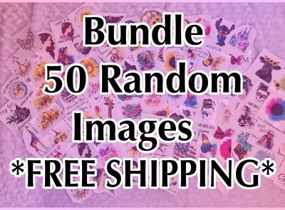 Bundle - 50 Random, Laser Printed Images, Discount Bundle - FREE SHIPPING