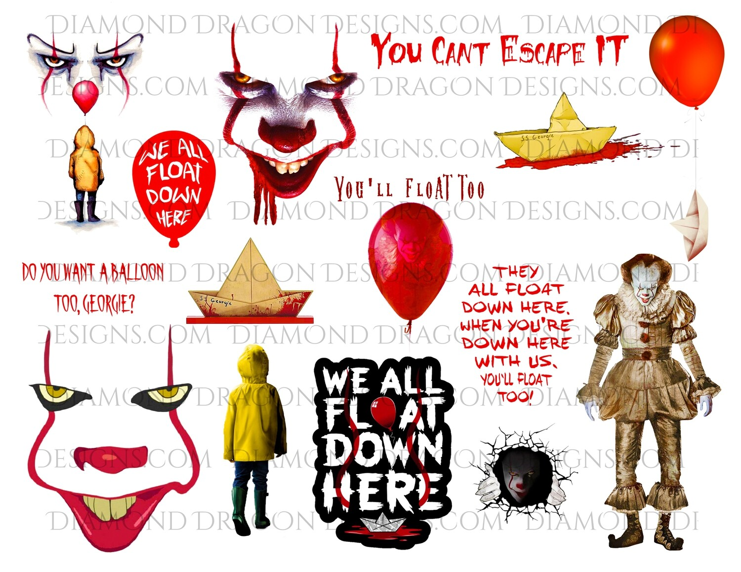 Halloween - IT Movie, Pennywise, Georgie, Full Page, Waterslides