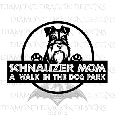 Dogs - Dog Mom, Schnauzer, A Walk in the Dog Park, Logo, Schnauzer Mom, Jurassic, Digital Image