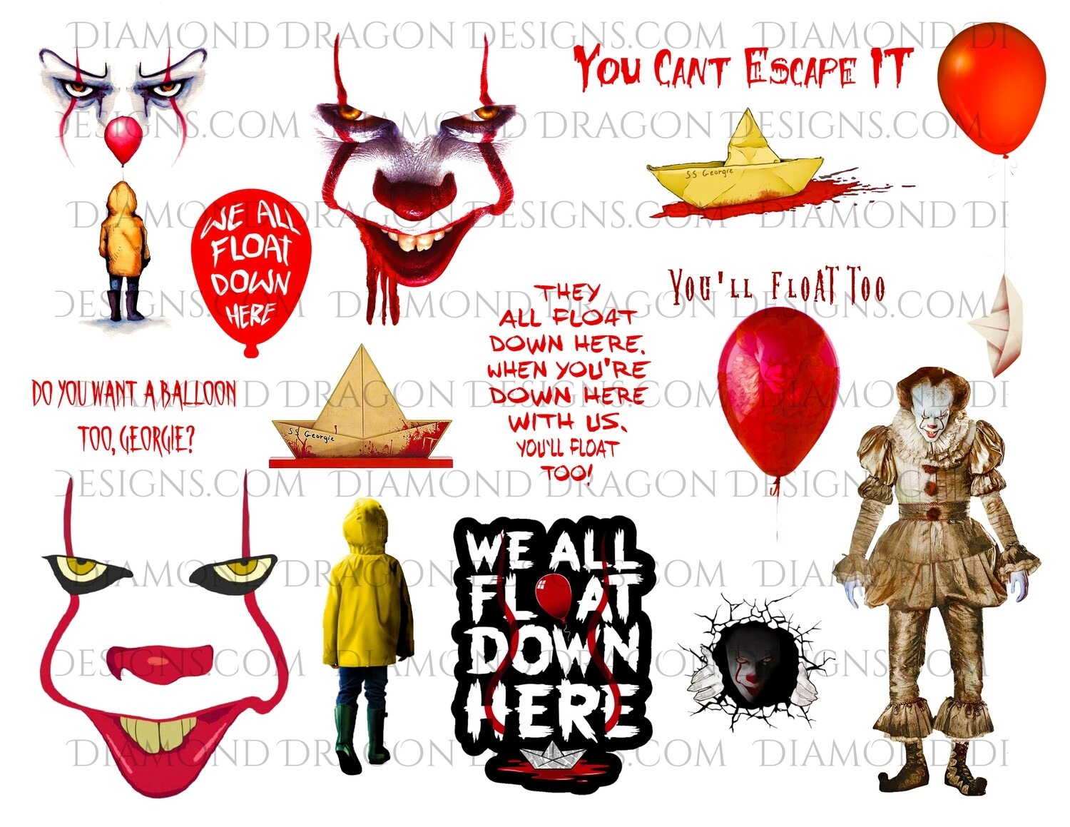 Halloween - IT Movie, Pennywise, Georgie, Full Page, Digital Image