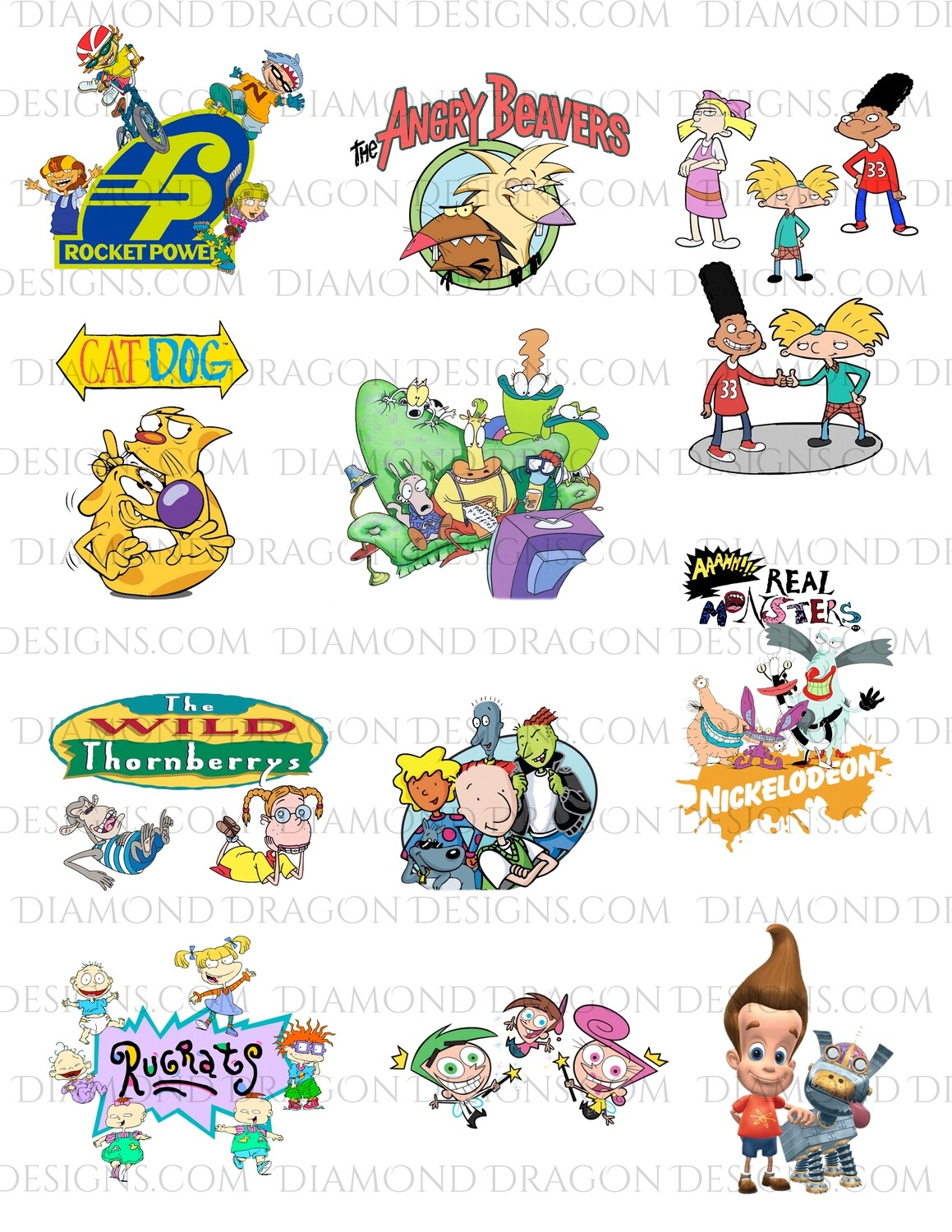 TV Shows - 90s Cartoons, Full Page, Digital Image