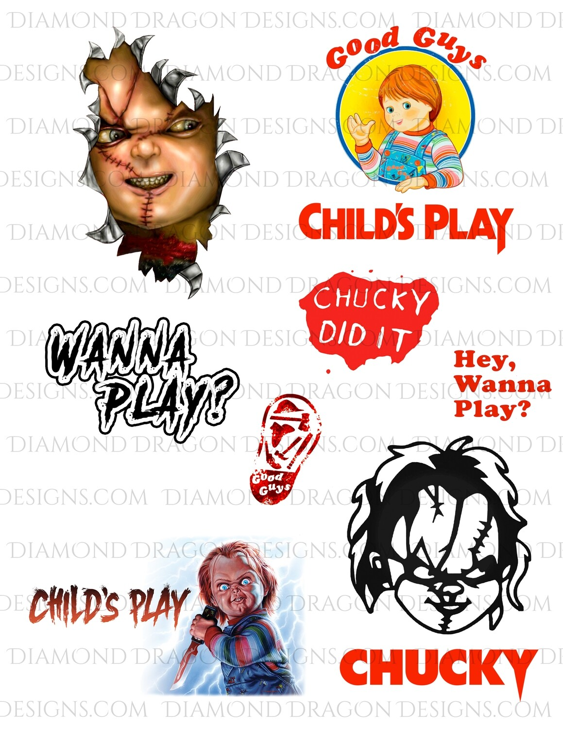 Halloween - Child's Play Movie, Chucky, Full Page, Waterslides