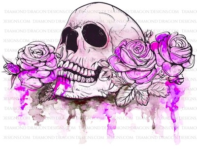 Halloween - Pink Watercolor Floral Skull Roses, Digital Image