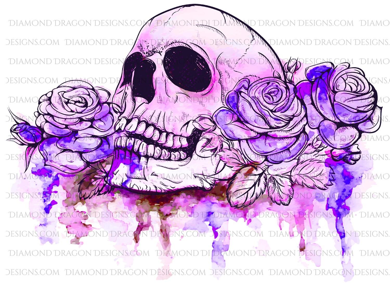 Halloween - Purple Watercolor Floral Skull Roses, Digital Image