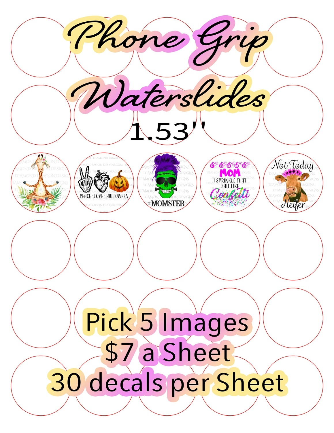 Full Page - Phone Grip Waterslides, Pick 5 Images, Custom Full Page Design - Waterslide