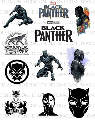 Movies - Black Panther, Chadwick Boseman, Collage, Full Page, Waterslides