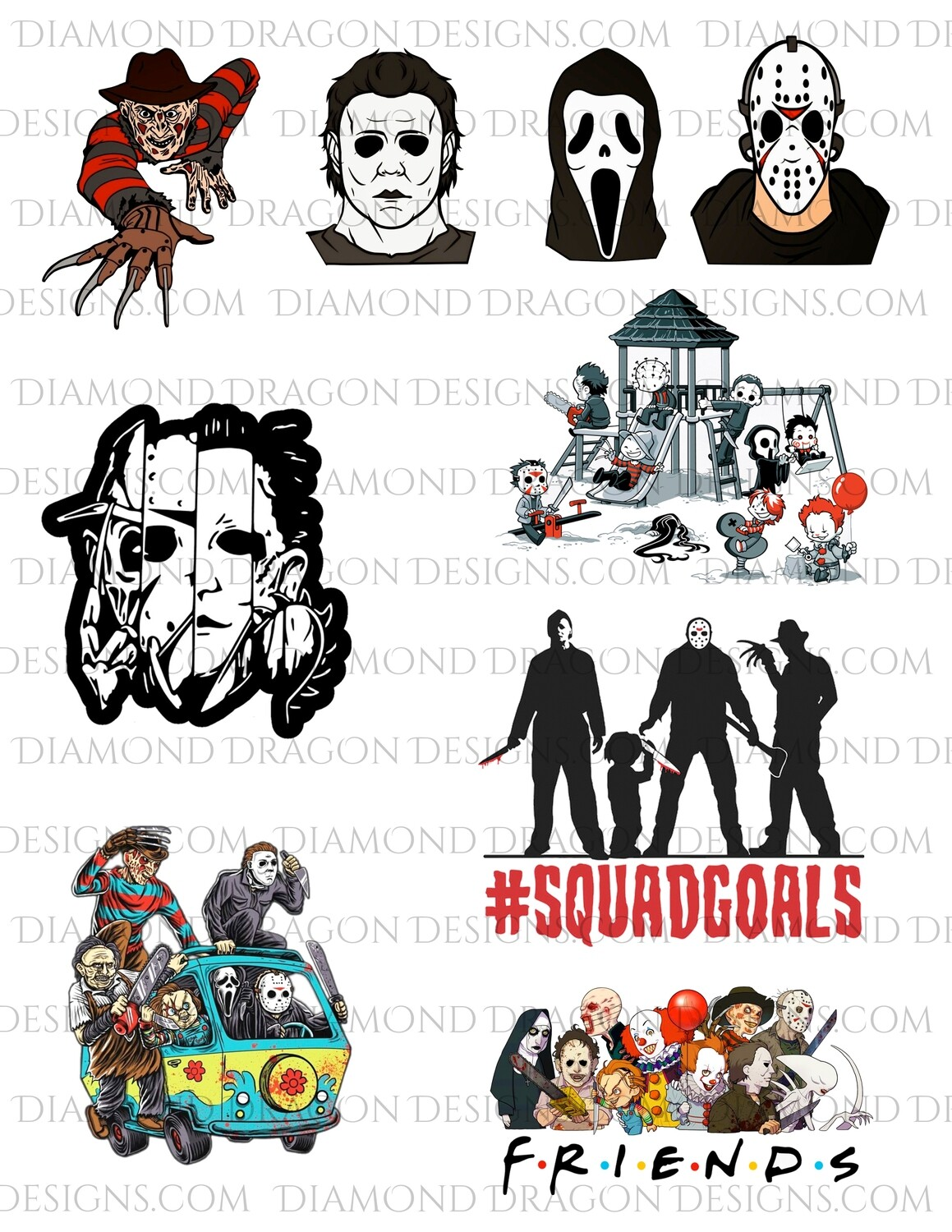 Movies - Horror Friends, Halloween, Collage 1, Full Page, Waterslides