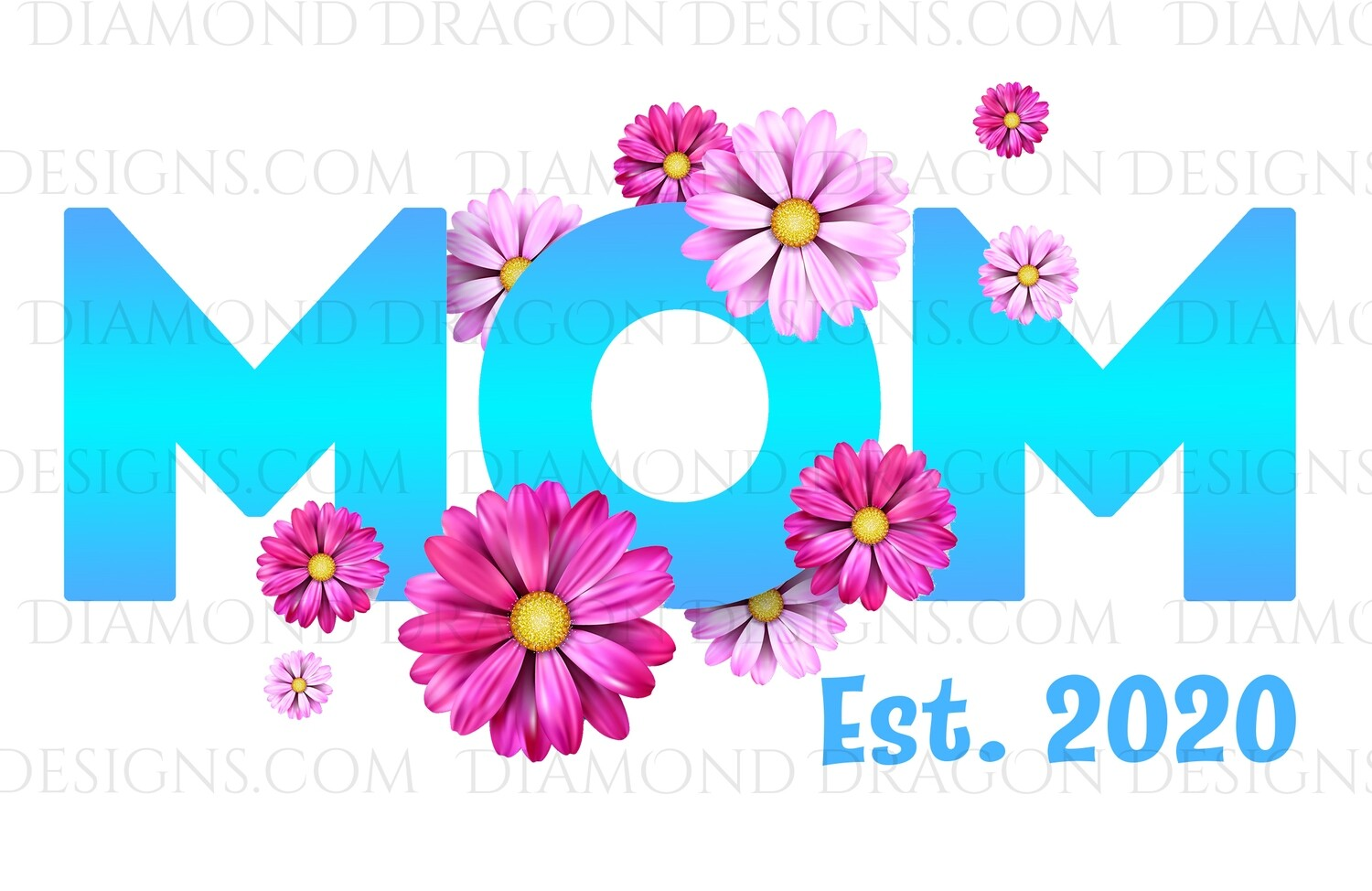 """Moms - Flowers Mom, Customize With or Without """"Est."""",  Waterslide"""