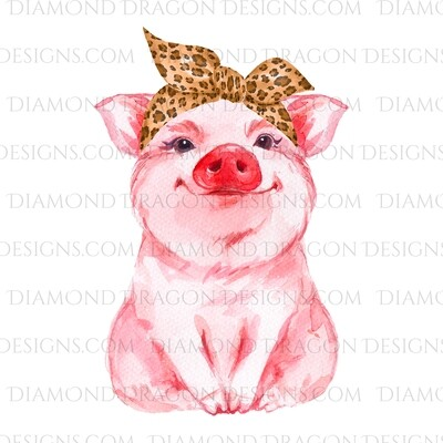 Animals - Cute Pig, Leopard Print Bandana, Digital Image