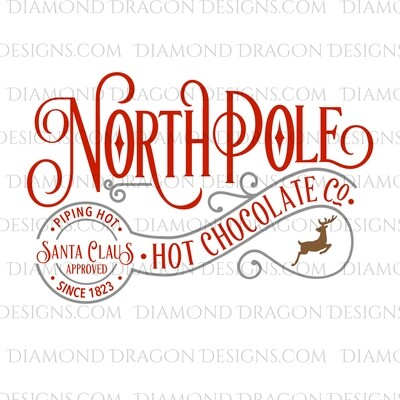 Christmas - North Pole, Hot Chocolate, Santa Approved, Gray, Waterslide