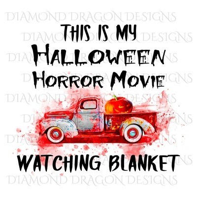 Halloween - This Is My Halloween Horror Movie Watching Blanket, Pumpkin, Bloody, Digital Image