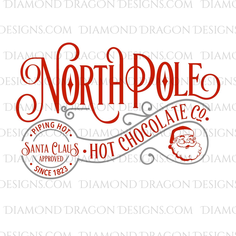Christmas - North Pole, Hot Chocolate, Santa Approved, Santa, Gray, Digital Image