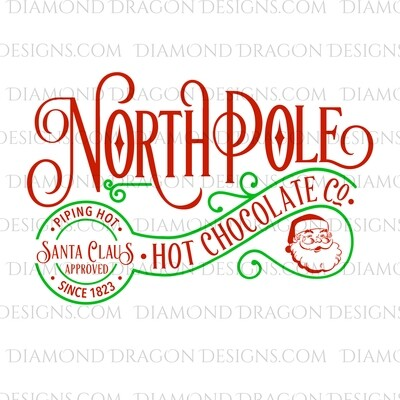 Christmas - North Pole, Hot Chocolate, Santa Approved, Santa, Green, Waterslide