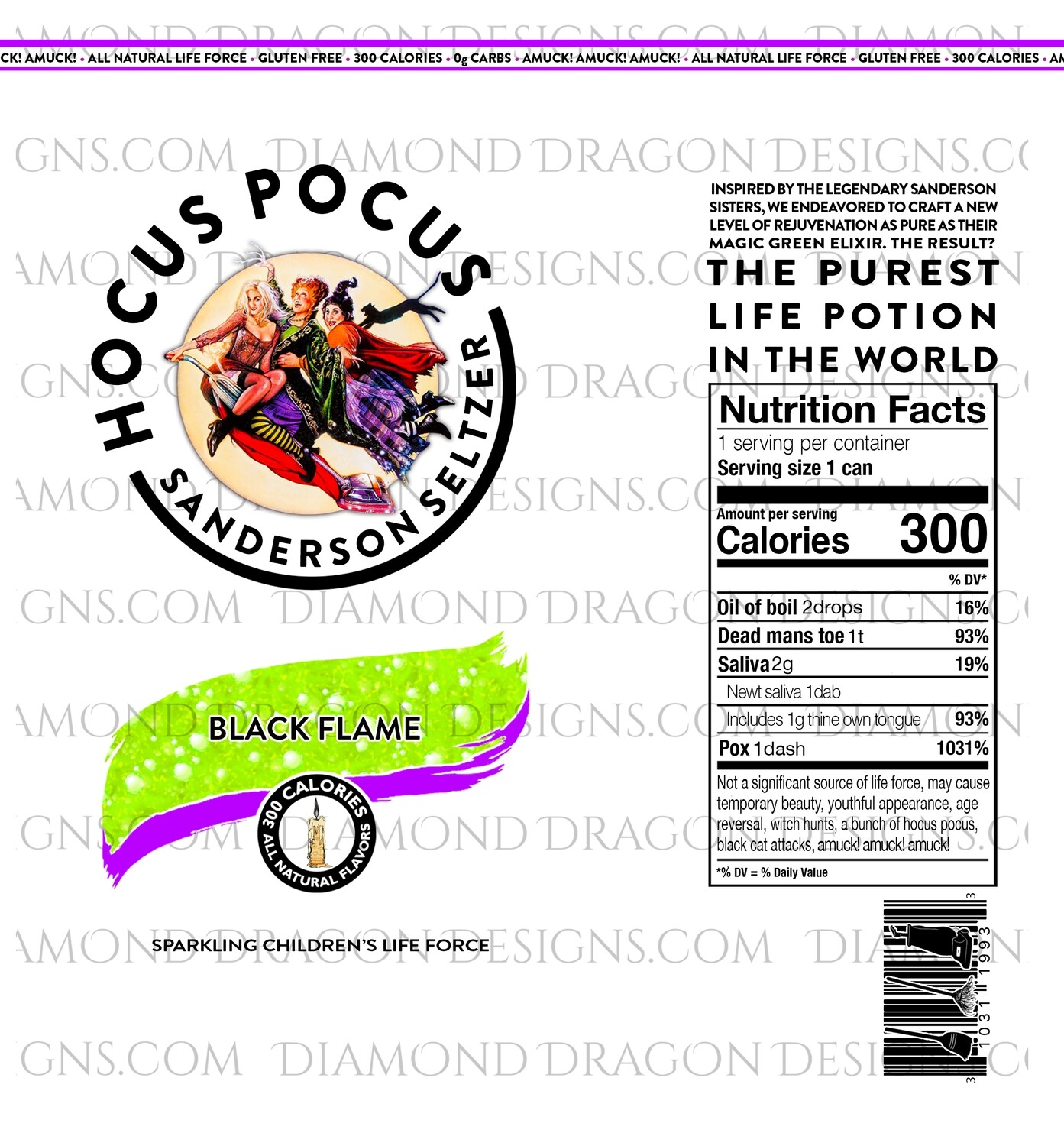 Halloween - Hocus Pocus, Sanderson Sisters, Hard Seltzer, Green, Super Realistic Claw Dupe, 3 Files, Digital Image
