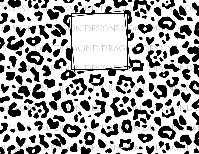 Full Page Design - Black Frame, Leopard Spots, Animal Print, Full Wrap, Digital Image