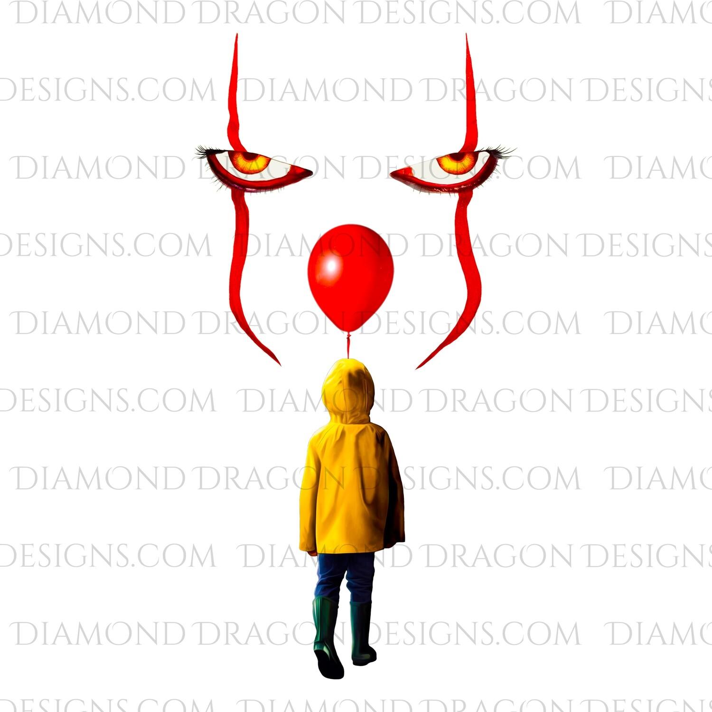 Halloween - IT Movie, Pennywise Face, Georgie Balloon, Digital Image