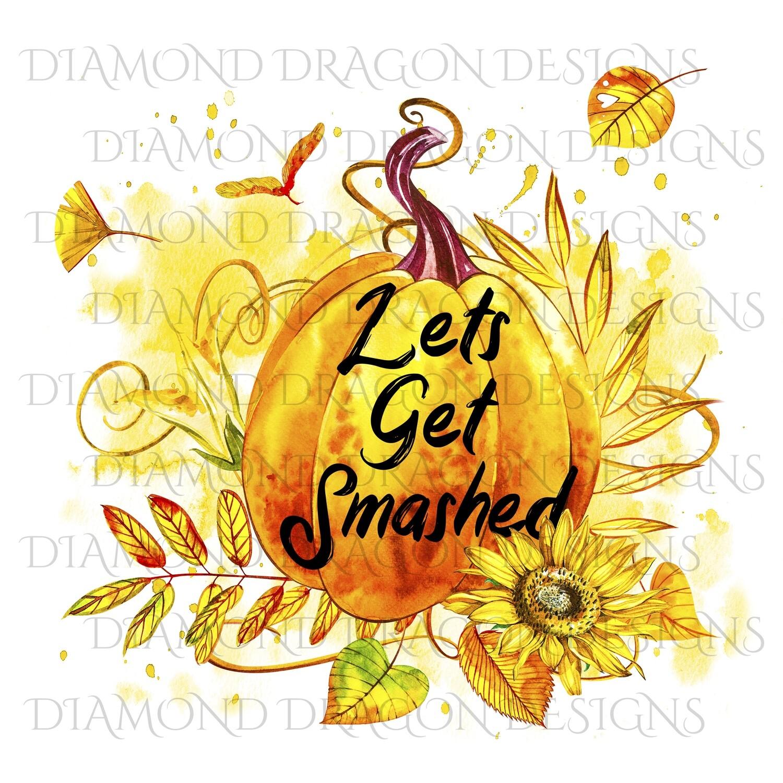 Halloween - Fall, Lets Get Smashed, Watercolor Pumpkin, Waterslide