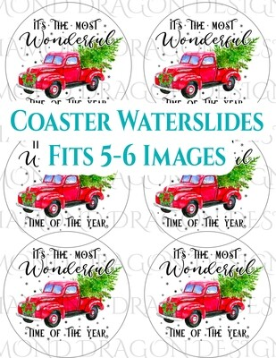 Full Page - 3.9'' Coaster Size, 5-6 Images, Custom Full Page Design - Waterslide