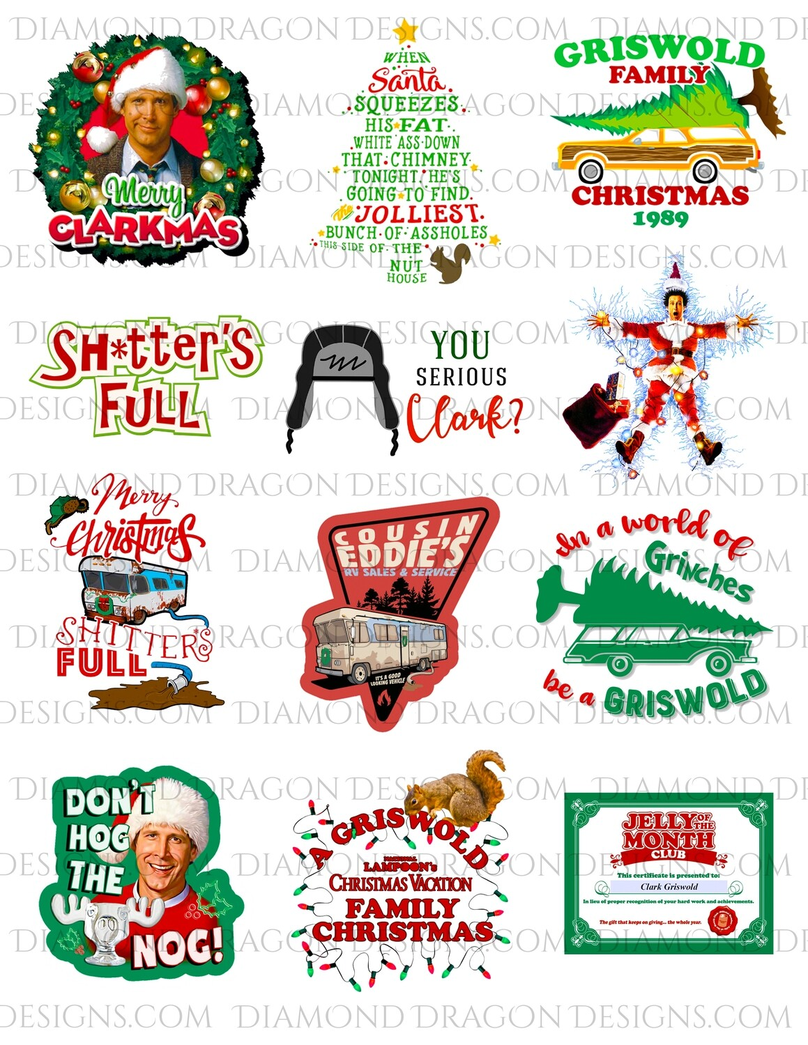Christmas - National Lampoons Christmas Vacation Inspired, Movie, Collage 1, 13 PNGs, Digital Image