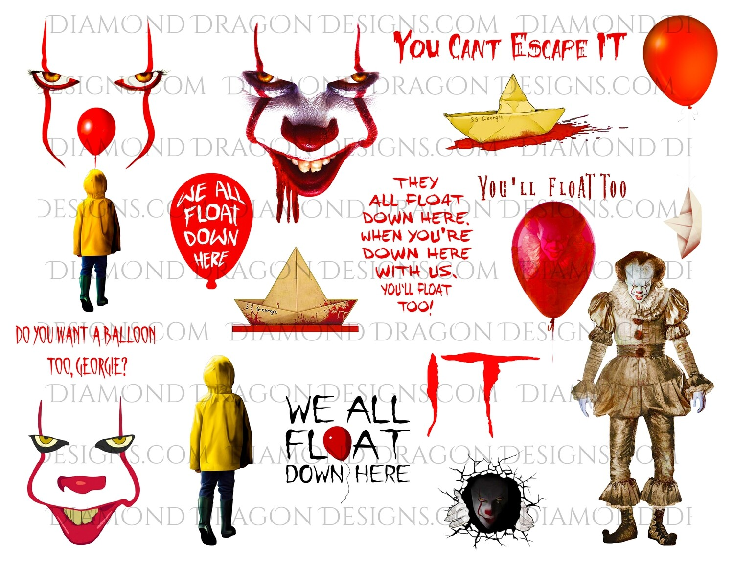 Halloween - IT Movie Inspired, Collage 2, Pennywise, Georgie, Full Page, Digital Image
