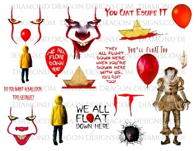 Halloween - IT Movie Inspired, Collage 2, Pennywise, Georgie, 18 PNGs, Digital Image