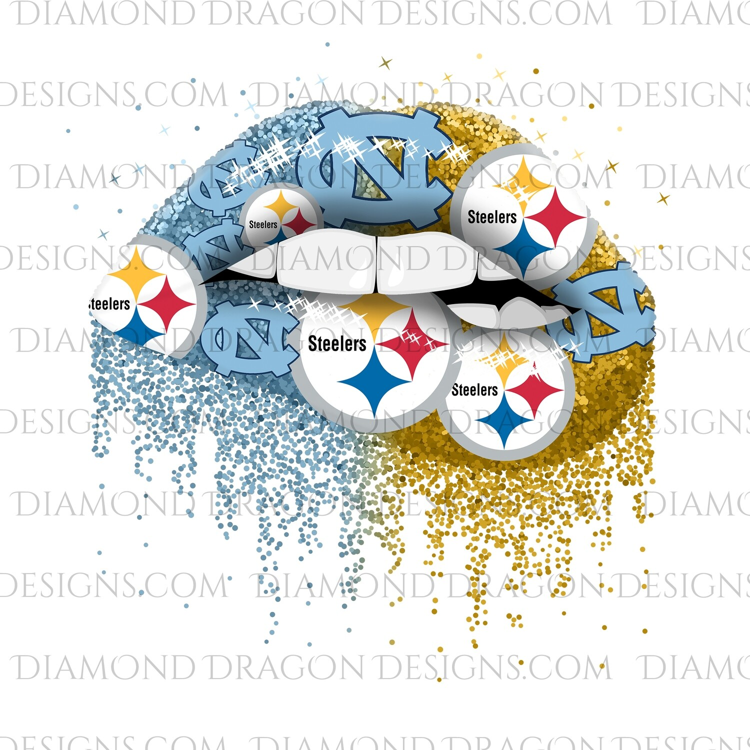 Sports - Glitter Lips, NC & Steelers, Digital Image