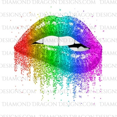 Pride - Rainbow, Dripping, Glitter Lips, Waterslide