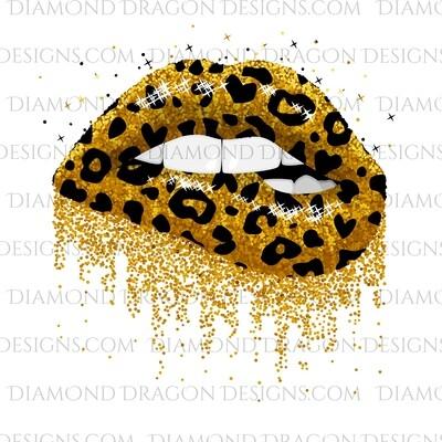 Womens - Leopard, Dripping, Glitter Lips, Digital Image