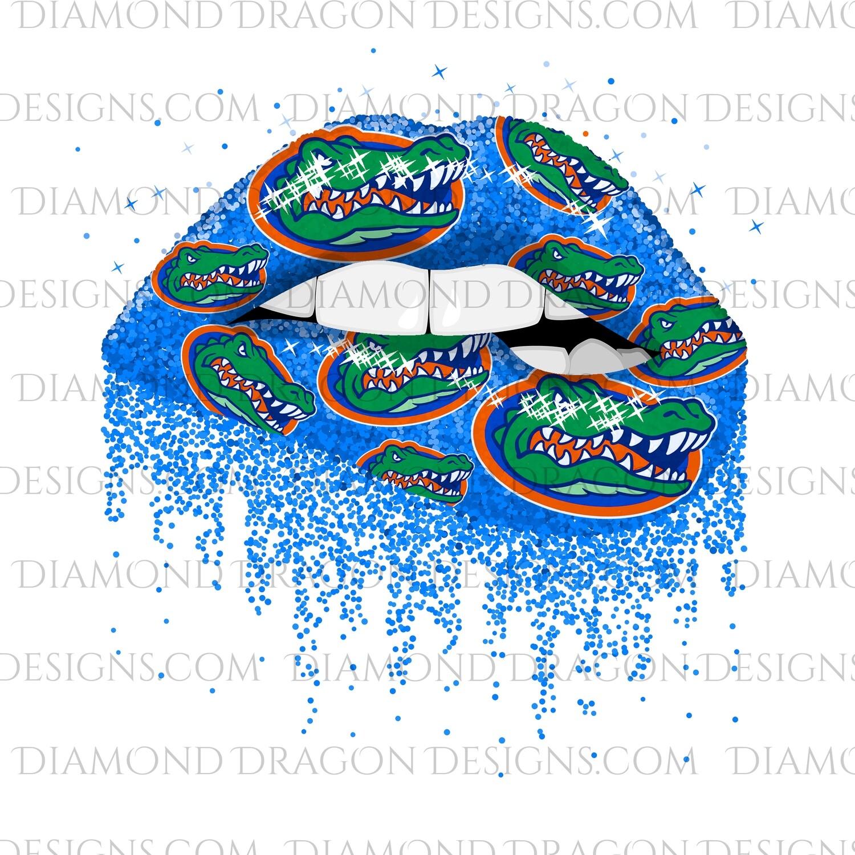 Sports - Glitter Lips, Blue, FL Gators, Digital Image
