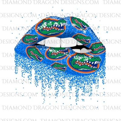 Sports - Glitter Lips, Blue, FL Gators, Waterslide