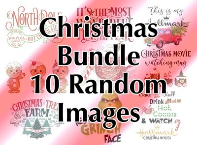 Bundle - 10 Christmas Random, Laser Printed Images, Discount Bundle