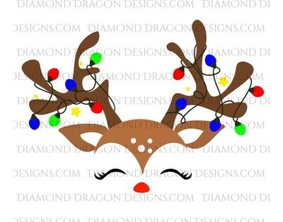 Christmas - Cute Reindeer Face, Digital Image