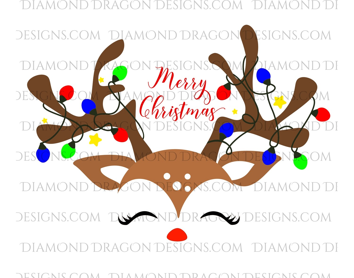 Christmas - Cute Reindeer Face, Merry Christmas, Digital Image