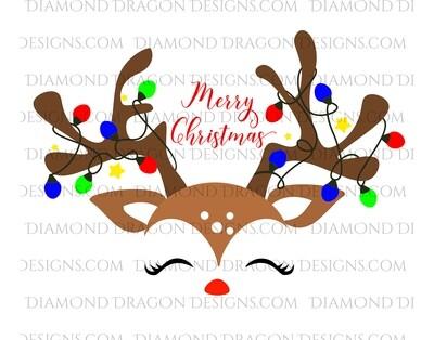 Christmas - Cute Reindeer Face, Merry Christmas, Digital Image
