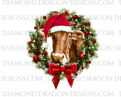 Cows - Cute Christmas Wreath Cow, Santa Cow, Digital Image