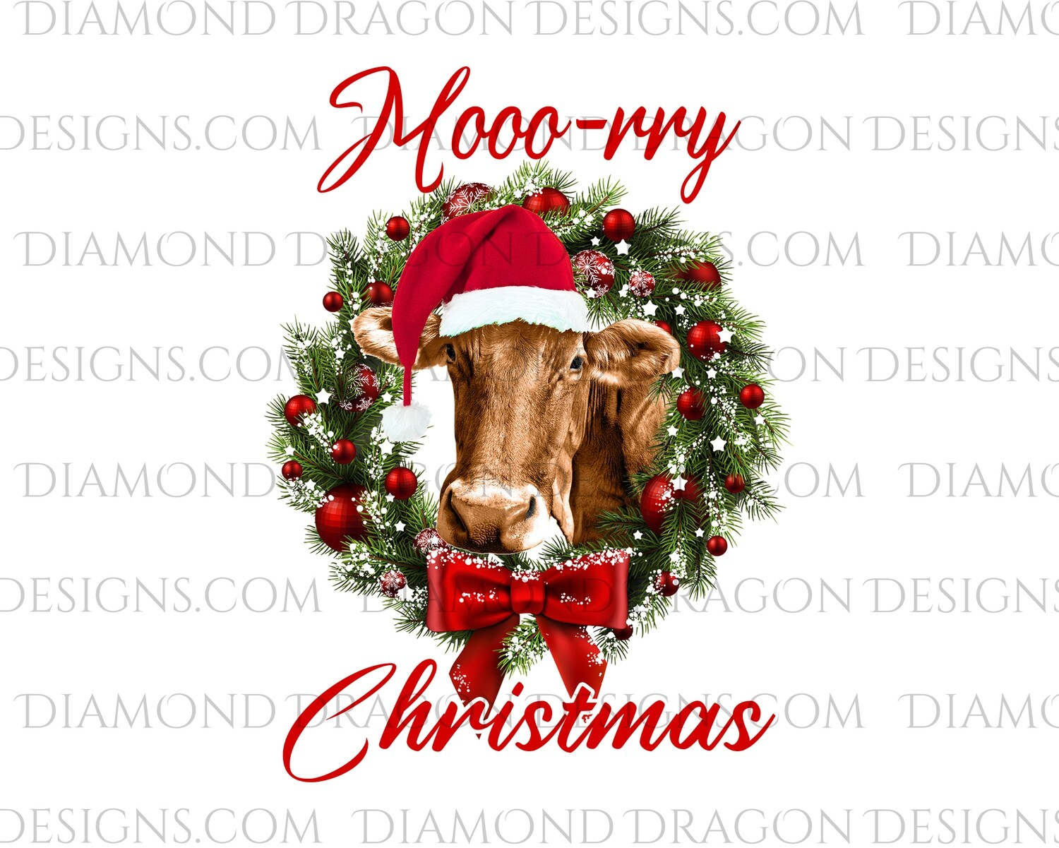 Cows - Cute Christmas Wreath Cow, Santa Cow, Moo-rry Christmas, Digital Image