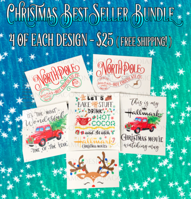Bundle - Christmas Best Sellers Bundle, 24 Laser Printed Waterslides