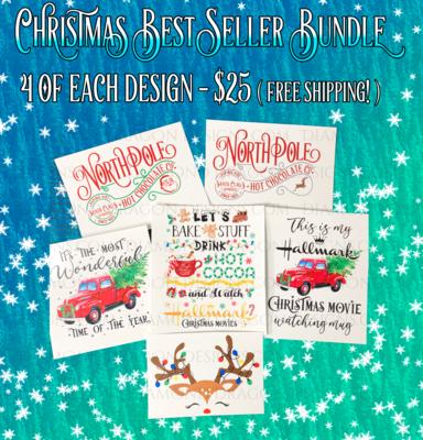 Bundle - Christmas Best Sellers Bundle, 24 Laser Printed Waterslides