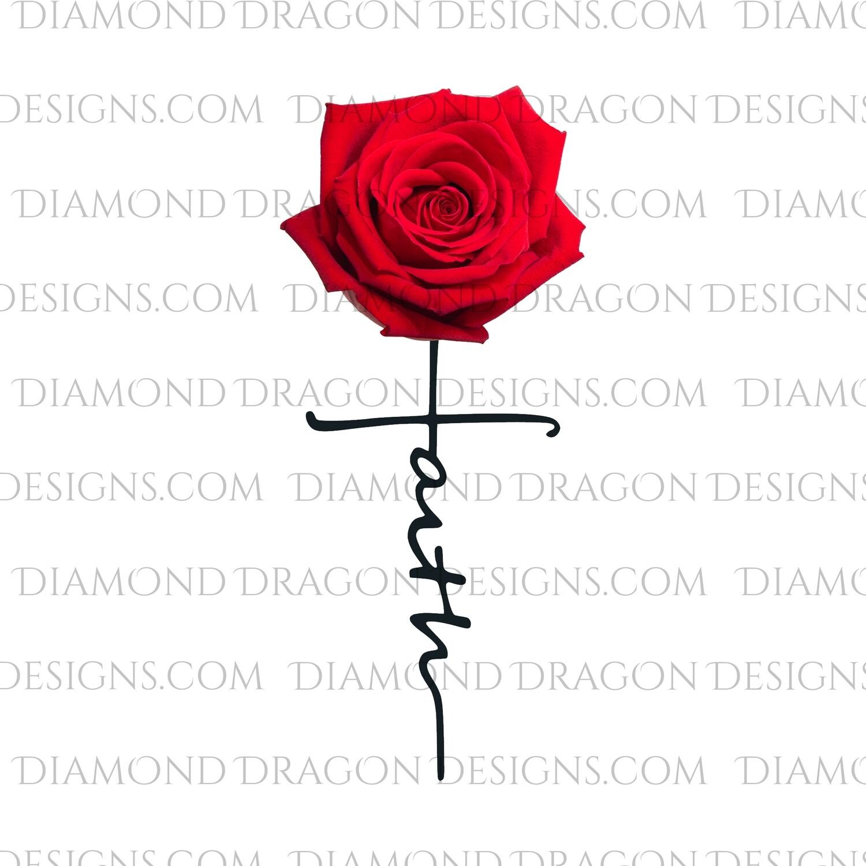 Faith - Red Rose, Faith Cross, Watercolor, Digital Image