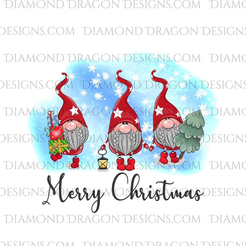 Gnomes - Merry Christmas Snowflake Gnomes, 3 Gnomes, Digital Image