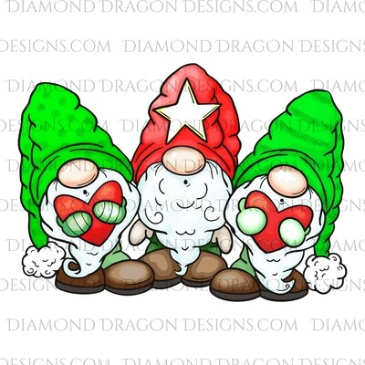 Gnomes - Christmas Gnomes, 3 Gnomes, Digital Image