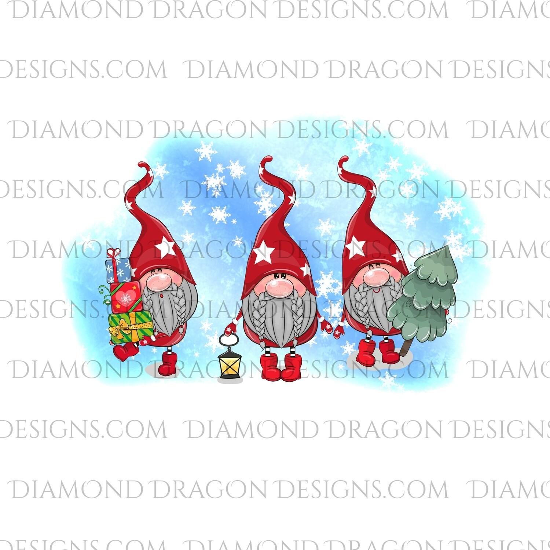 Gnomes - Christmas Snowflake Gnomes, 3 Gnomes, Waterslide